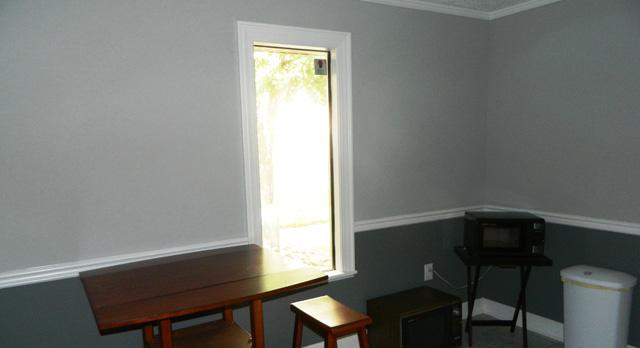 Employee break area in kitchen