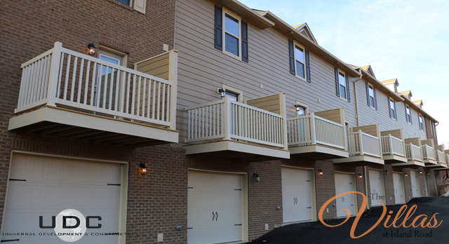 A view of our 2 bedroom townhomes from the back. Units available with and without garage.
