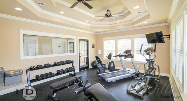 Our 24-hour fitness center includes cardio equipment and free weights