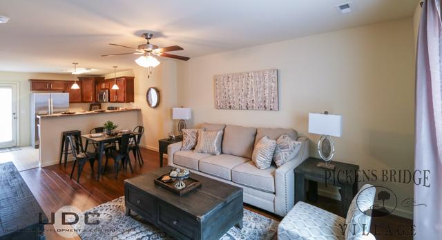 Open livingroom with hardwood floors