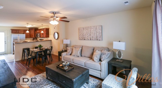 Spacious open living rooms in all our townhomes