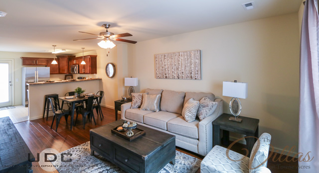An interior view of the main living area in our 2 bedroom townhome apartment now renting