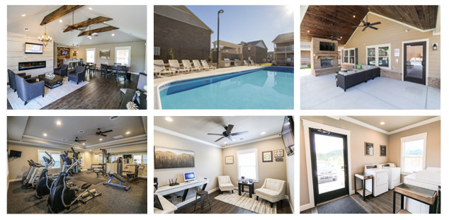 Photo collage of clubhouse amenities at The Villas at Avery Creek in Asheville, NC