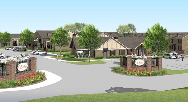 An architectural rendering of the entrance at The Villas at Avery Creek
