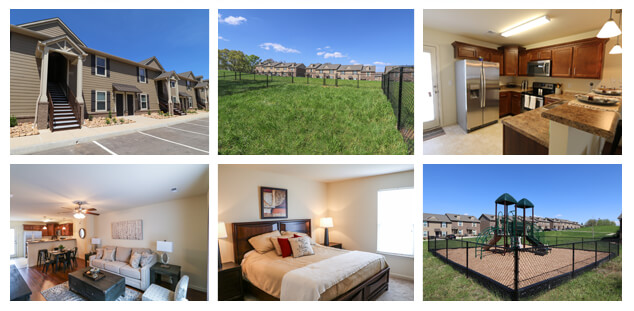 Photos of similar communities developed and operated by UDC with similar floorplans and amenities proposed for Town View in elizabethton