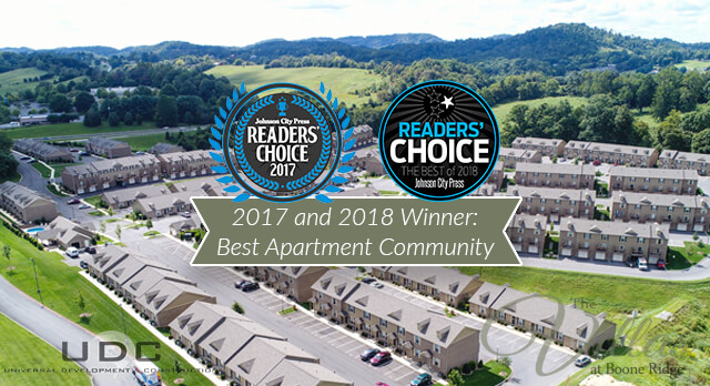 Voted back to back best apartment community in Johnson City Press Readers Choice Award