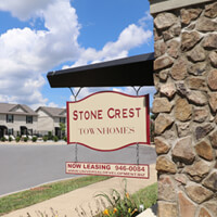 Stone Crest Townhomes Main Sign For Rent In Johnson City TN